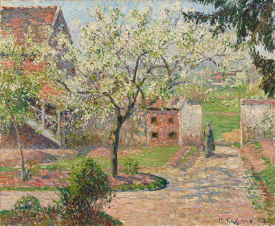 Camille Pissarro, Plum Trees in Blossom, Éragny (The Painter's Home)