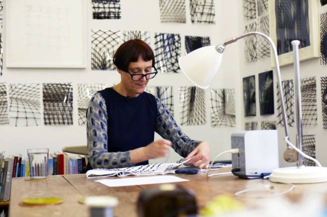 Cornelia Parker RA at work on 'Magna Carta (An Embroidery)', 2015