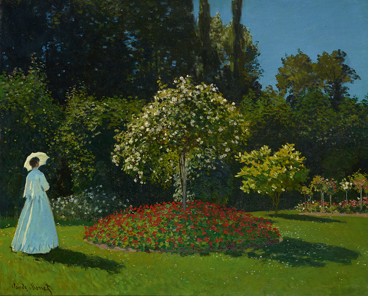 Hand painted Oil painting beautiful young woman in Private garden spring flowers