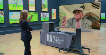 David Hockney RA and Edith Devaney in 'The Arrival of Spring' exhibition, 2021