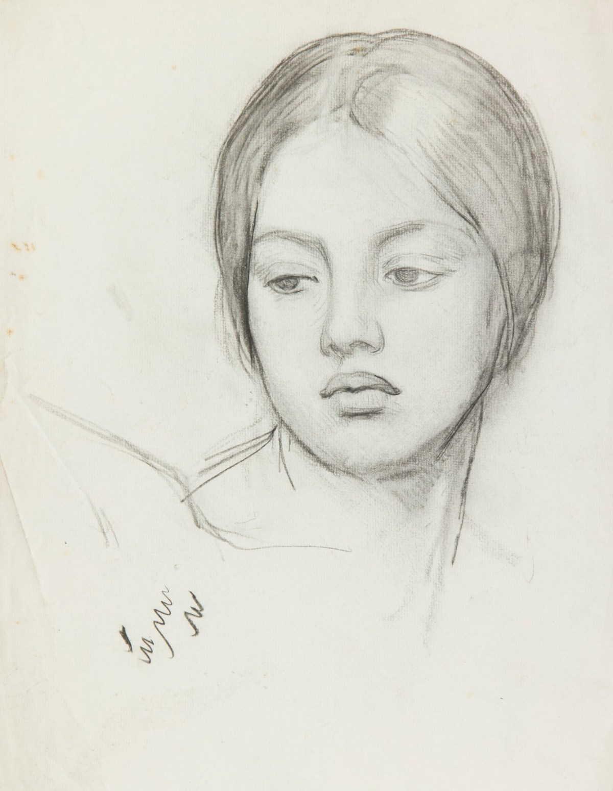 Study of a female head for 'Renaissance' | Works of Art ... |Sir George Clausen Head Girls