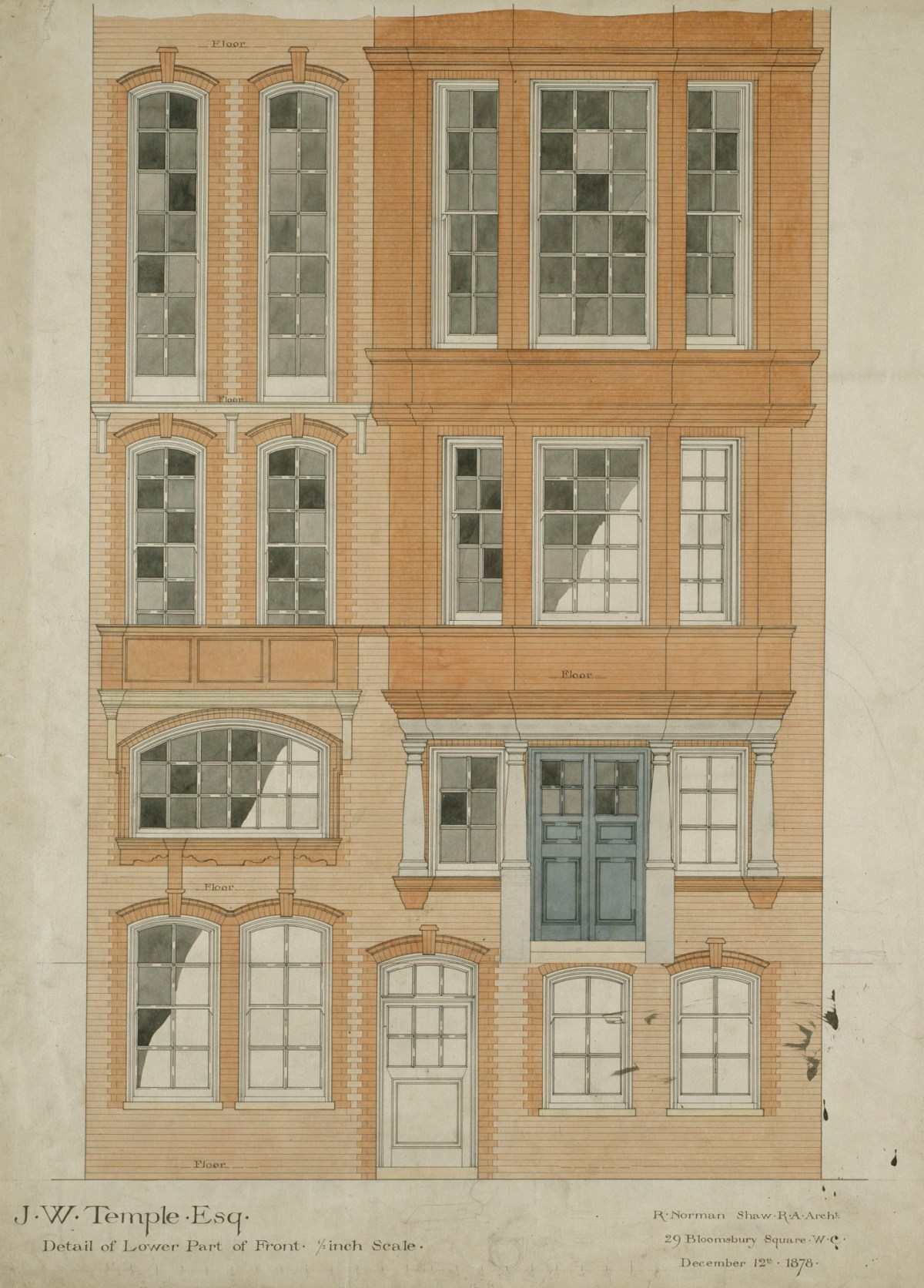Design For Nos 9 11 Chelsea Embankment London Sw3 Detail Of Lower Part Of Front Elevation Works Of Art Ra Collection Royal Academy Of Arts