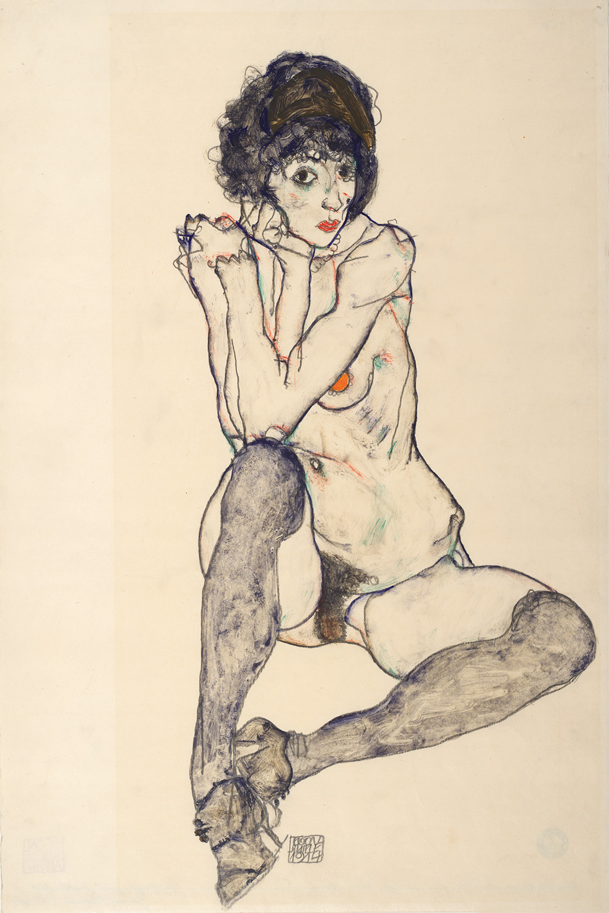 Egon Schiele,Seated Female Nude, Elbows Resting on Right Knee,1914. Graphite and gouache on Japan paper. 48 x 32 cm. The Albertina Museum, Vienna. Exhibition organised by the Royal Academy of Arts, London and the Albertina Museum, Vienna.