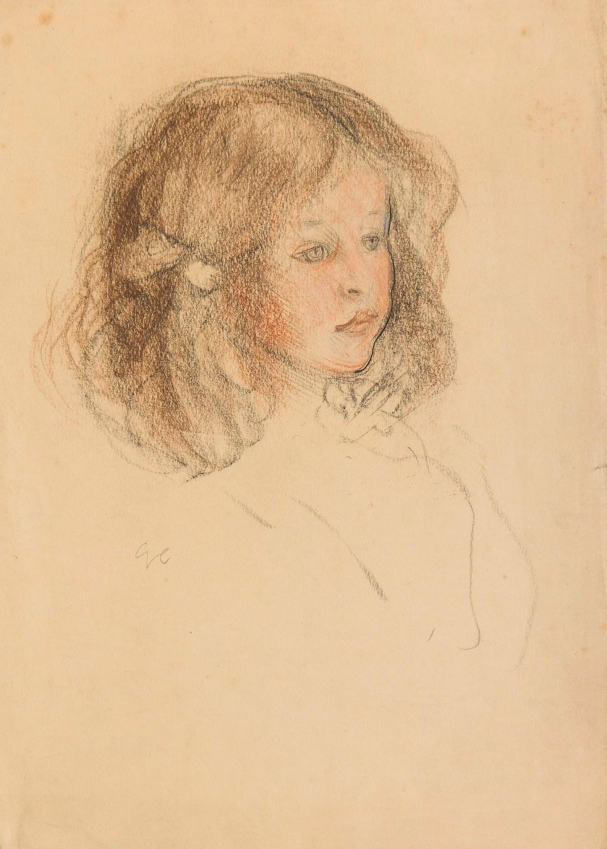 Study for Head of a Girl (Emmy Wright) Artwork by Sir ... |Sir George Clausen Head Girls