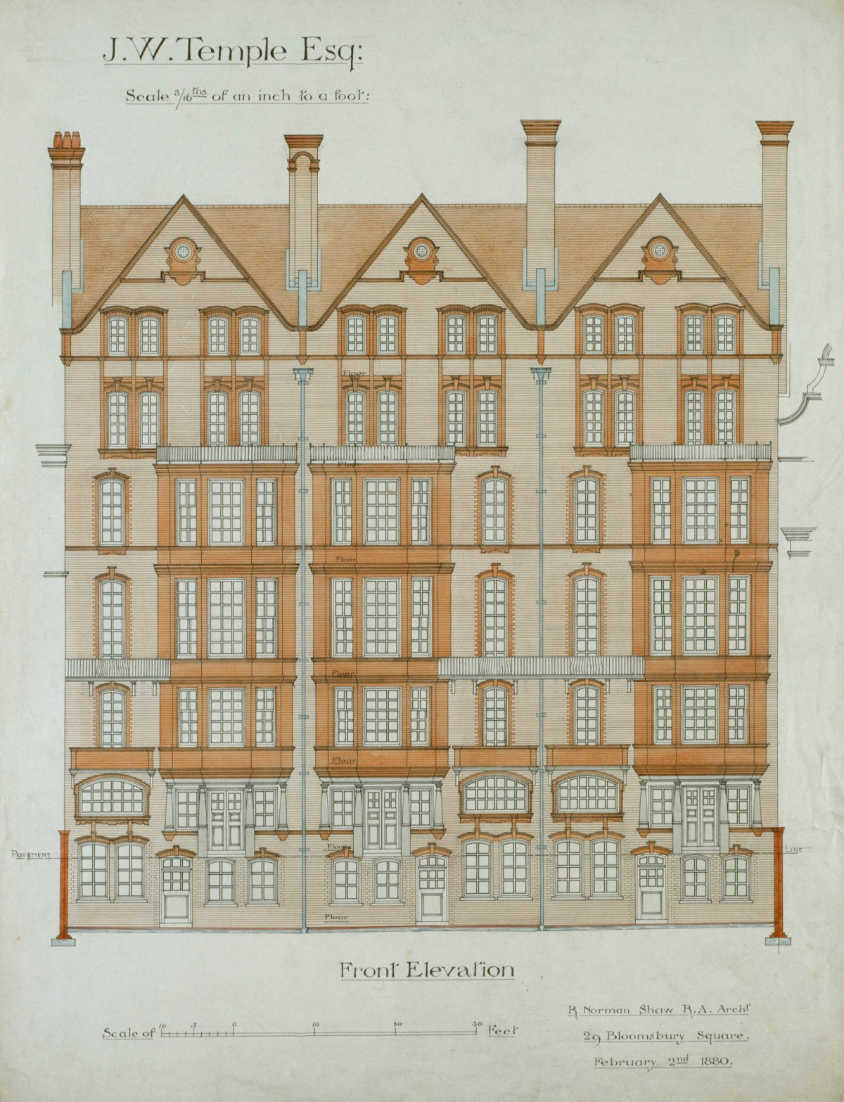 Design For Nos 9 11 Chelsea Embankment London Sw3 Front Elevation Works Of Art Ra Collection Royal Academy Of Arts