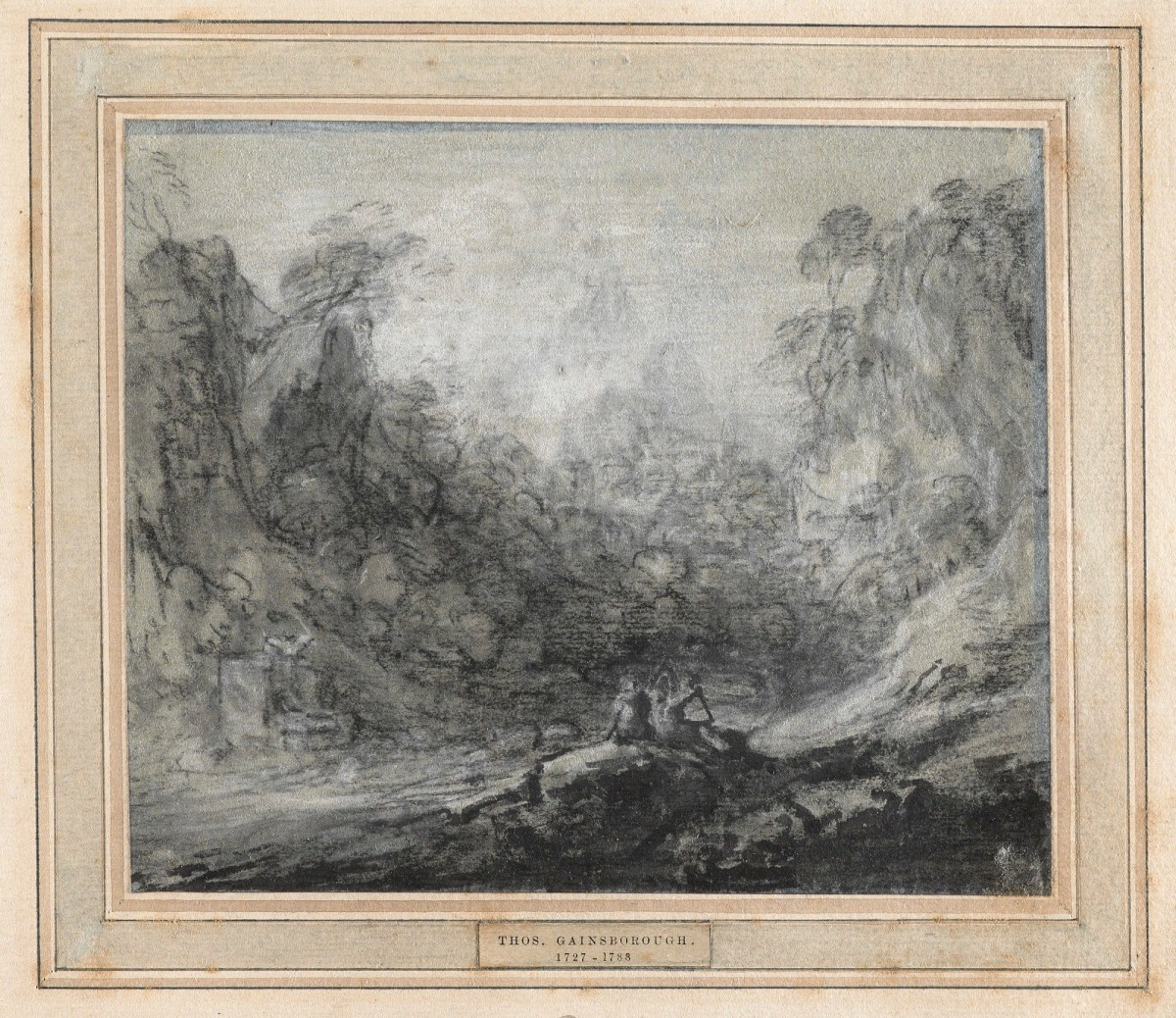 Mountainous Wooded Landscape With Figures And Sheep Study For