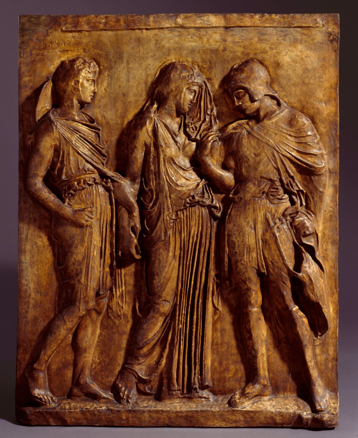 Museo Archeologico Di Napoli.Cast Of Three Figured Relief Depicting Hermes Eurydice And Orpheus