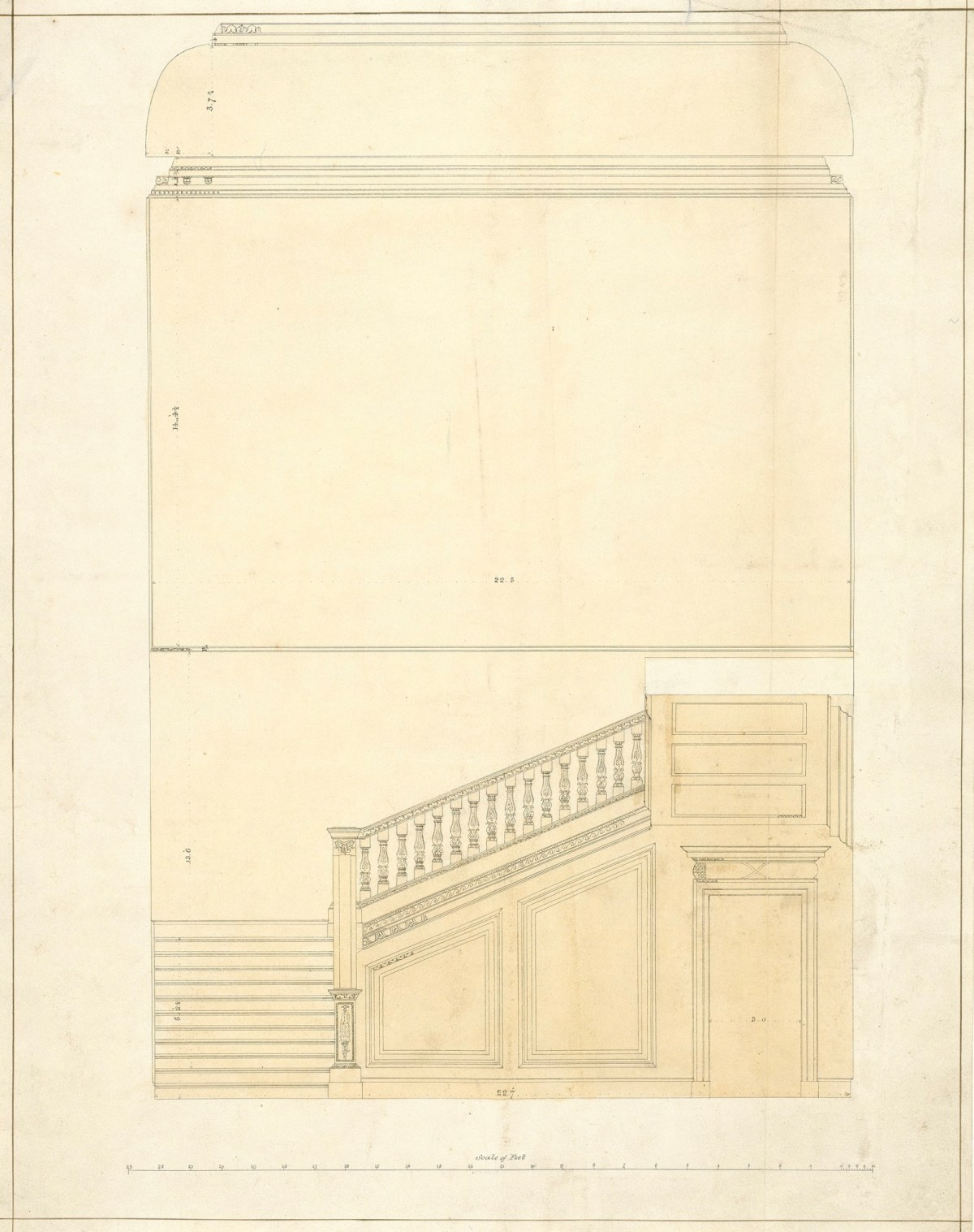 Survey drawing of staircase, Burlington House, Piccadilly