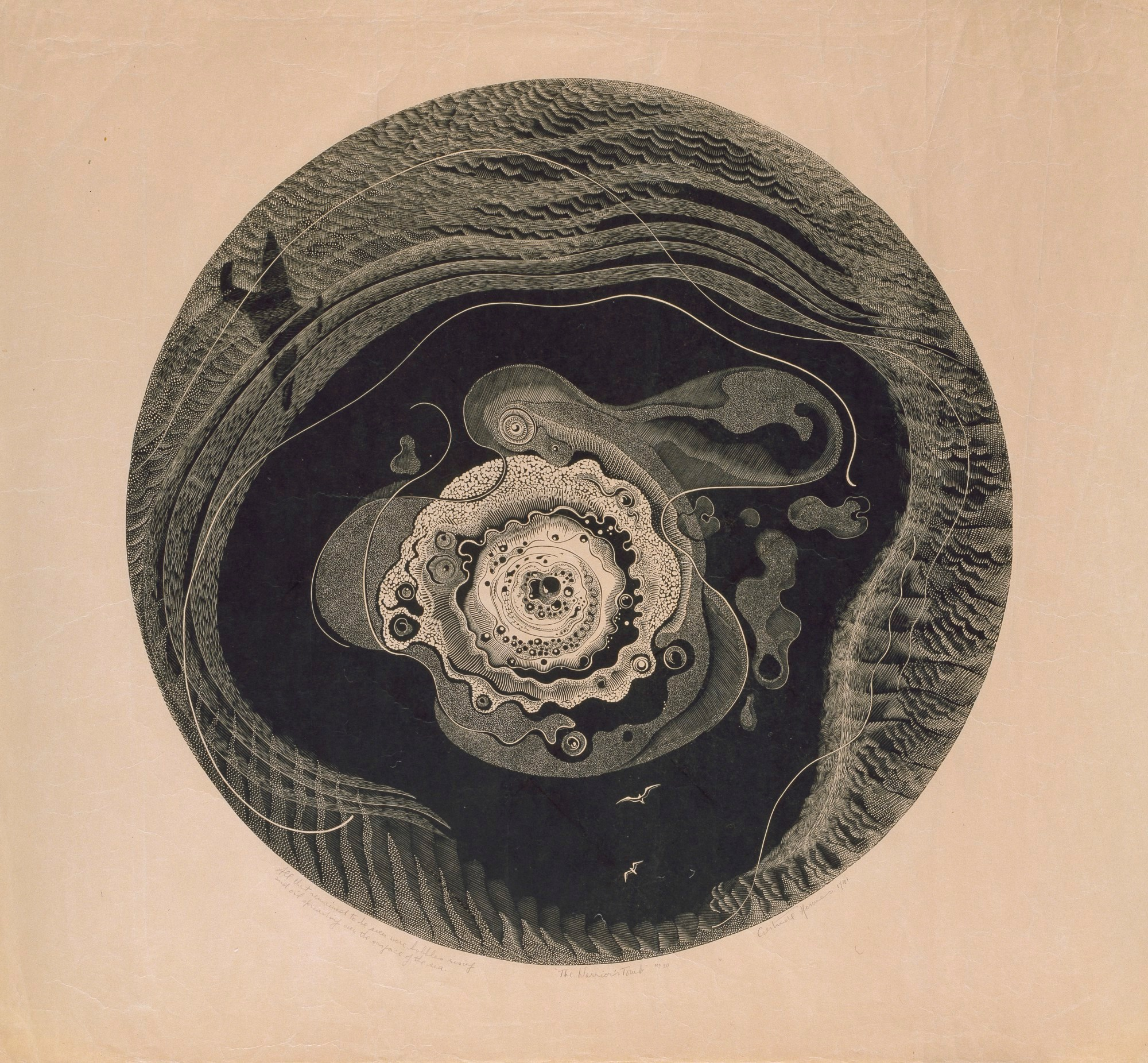 A wood engraving called The Warrior's Tomb' by Gertrude Hermes. Created in 1941.