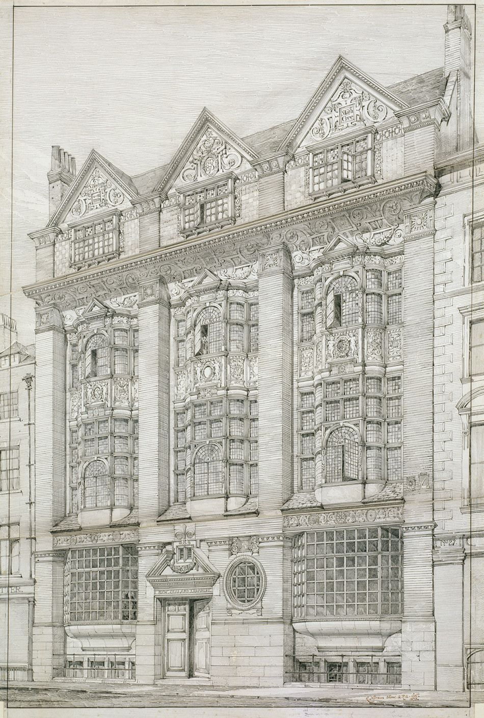 Norman Shaw RA Presentation Drawing Of New Zealand Chambers 34 35 Leadenhall Street