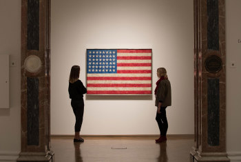 Installation image of Jasper Johns: 'Something Resembling Truth', showing 'Flag', 1958