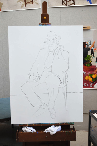 Barry humphries Drawn by David Hockney at RA