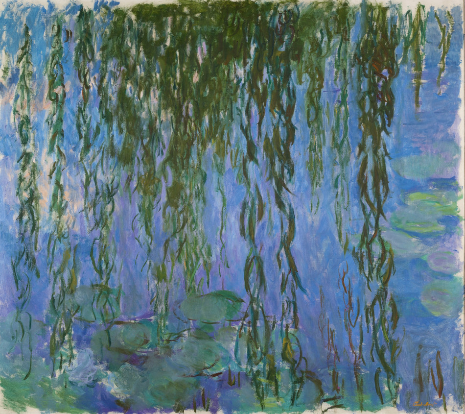 English country garden paintings - Claude Monet Water Lilies With Weeping Willows