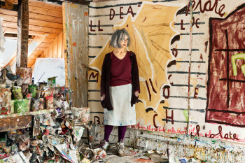 Rose Wylie RA in her Kent studio
