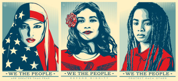 Shepard Fairey (L-R photographs by Ridwan Adhami, Arlene Mejorado, Delphine Diallo), We the People