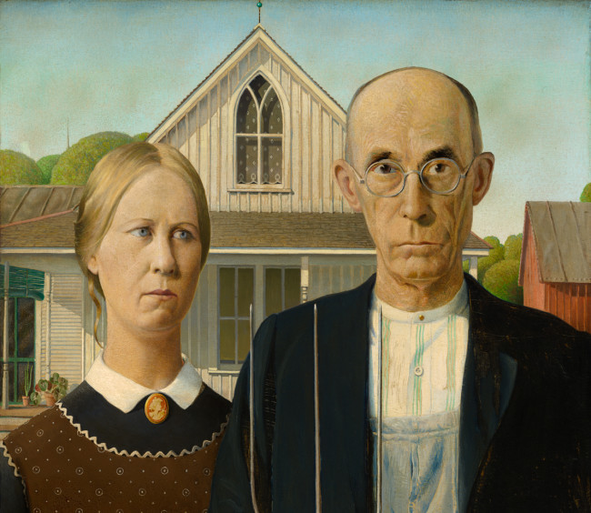 Grant Wood, American Gothic (detail)